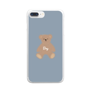 boy クマさん Clear smartphone cases