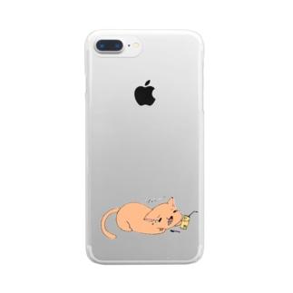 ぴぇん猫 Clear smartphone cases