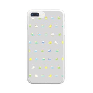 ちみまめセキセイインコちゃん【まめるりはことり】 Clear smartphone cases