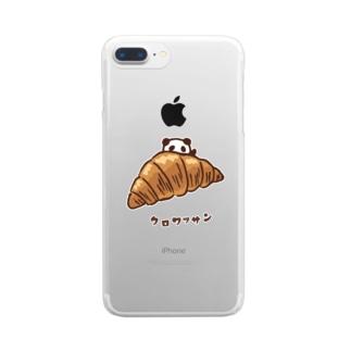 クロワッサンとパンダ Clear smartphone cases