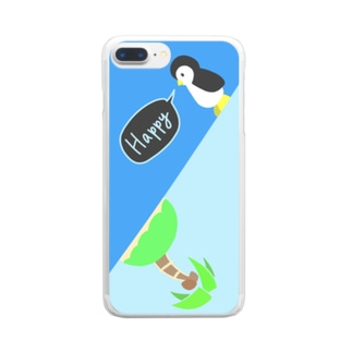 ぺったんペンギンと夏の島 Clear smartphone cases