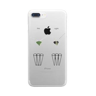 カマキリの昼と夜の複眼(英語、背景透過ver) Clear Smartphone Case