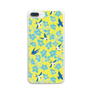 ツバメとミズキ イエロー Clear smartphone cases