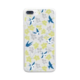 ツバメとミズキ グレー Clear smartphone cases