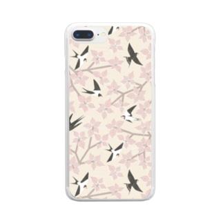ツバメとミズキ ピンク Clear smartphone cases