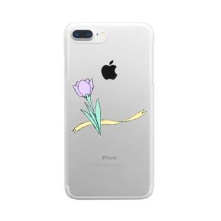 色のついたクロッカス Clear smartphone cases