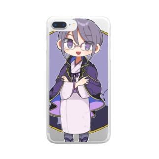 かやまのぐっず 参 Clear smartphone cases