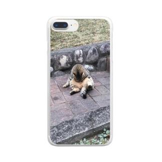 二つ折り猫 Clear smartphone cases