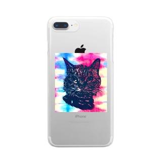 ねこねこねこ Clear smartphone cases