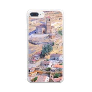 スペイン:セゴビア郊外の村の風景 Spain: view of a village near around Segovia Clear smartphone cases
