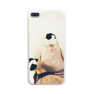 ペンギンライオンバナナシャツ Clear smartphone cases