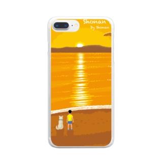 湘南デザイン室:Negishi Shigenoriの湘南ランドスケープ07:夕焼け、光の道 Clear smartphone cases