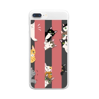 Atelier Heureuxの隙間が気になるにゃんこ達 くろとあか Clear smartphone cases