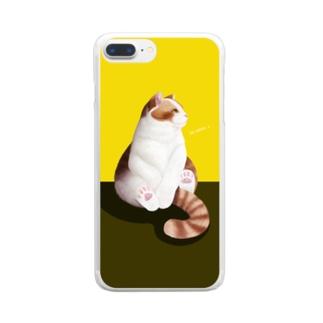 猫のひと時(yellow) Clear smartphone cases