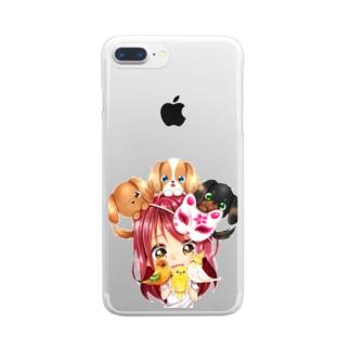 ハッピーアニマル(初期限定デザイン キャバリア・インコ・犬・鳥) Clear Smartphone Case