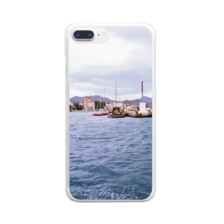 ギリシャ:小型帆船が舫うエギナ島の波止場の風景写真 Greece: Small ships at Egina Is. Clear smartphone cases