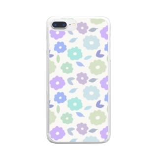 やさしくふんわか北欧のお花。 SKY/混 Clear smartphone cases