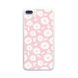 やさしくふんわか北欧のお花。 PINK/単 Clear smartphone cases