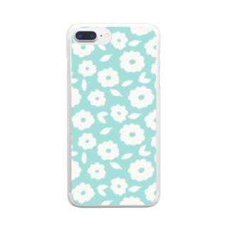 やさしくふんわか北欧のお花。 SKY/単 Clear smartphone cases