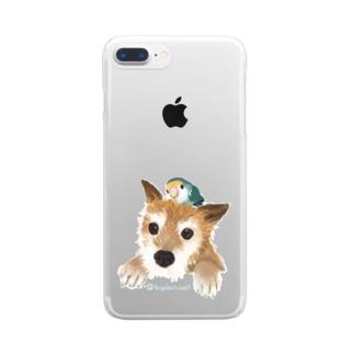 仲良しさん(わんこ&コザクラ)背景なし  Clear smartphone cases