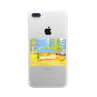ラナイ島にある小さく可愛いBank of Hawaii(イラスト) Clear smartphone cases