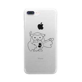 アコギを持たされたフクロウくん Clear smartphone cases