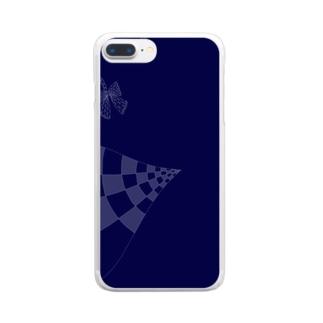 リボンとブルー Clear smartphone cases