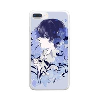 桔梗くん Clear smartphone cases