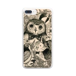 フクロウ Clear smartphone cases