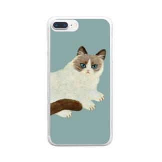 ふわふわのねこ Clear smartphone cases