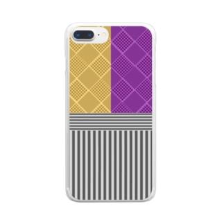 和柄(お芋カラー) Clear smartphone cases