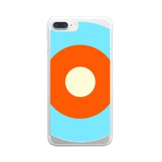 サークルa・水色3・オレンジ・クリーム Clear smartphone cases