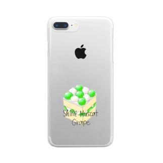 シャインマスカットのスクエアケーキ Clear smartphone cases
