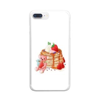 パンケーキとテディベア Clear smartphone cases