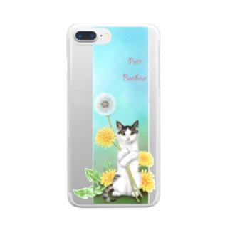タンポポとサバトラ子猫② Clear smartphone cases