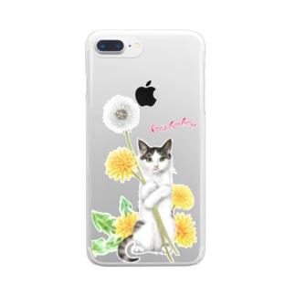 タンポポとサバトラ子猫② Clear Smartphone Case