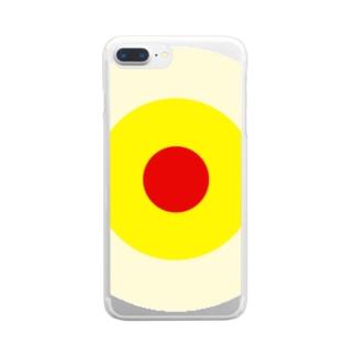 サークルa・クリーム・黄・赤 Clear smartphone cases