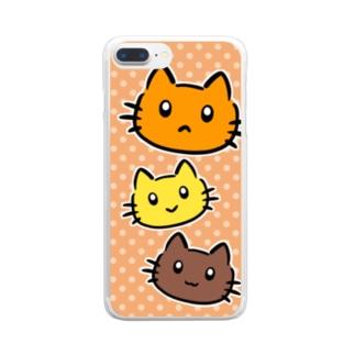 にゃんこファミリー Clear smartphone cases