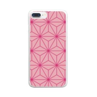 和柄 ピンク麻柄 Clear smartphone cases