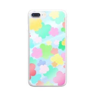 クリスタルフラワー(花柄) Clear smartphone cases