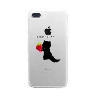 りすちゃんシルエット Clear smartphone cases