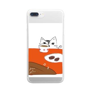 猫とブラウニー Clear smartphone cases