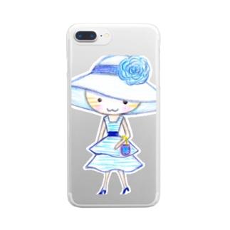 茶トラの女の子ミミ ブルーワンピ  Clear smartphone cases