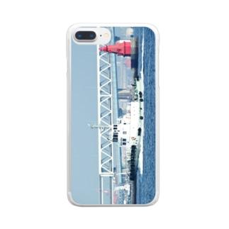 神奈川県:横浜港防波堤灯台とタグボート Kanagawa: Tag boat at Yokohama harbor Clear smartphone cases