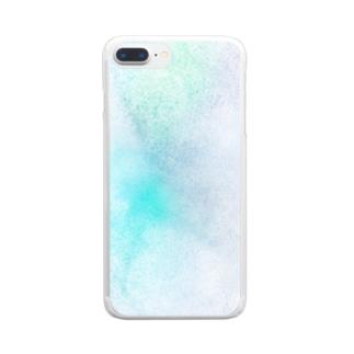 青緑色の光 Clear smartphone cases