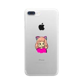 猫女の子 Clear smartphone cases