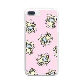 hamigaki menchi(baby pink) Clear smartphone cases