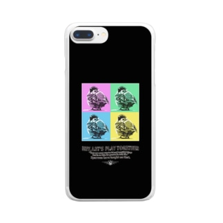 すずめのオチリ・ポップアート(ブラック) Clear smartphone cases