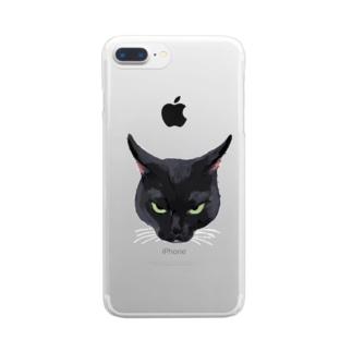 キライ猫イラスト Clear smartphone cases