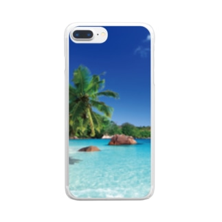 どこでも窓 南の島編 Clear smartphone cases